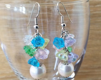 flower cluster spring pastel color with a glass pearl silver plated earring
