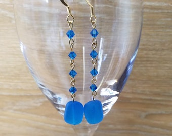 22k gold plated blue sea glass and bicone beads earring