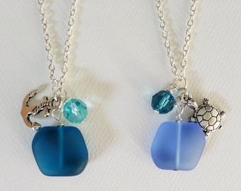 Sea glass pendant ocean theme necklace