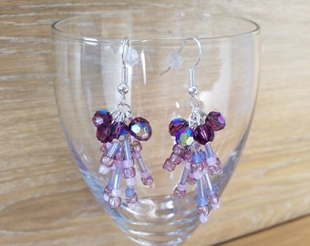 Fireworks in lavender and purple silver earring