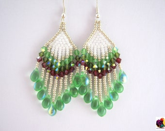 Bohemian summer beautiful feather like earring with vibrant color