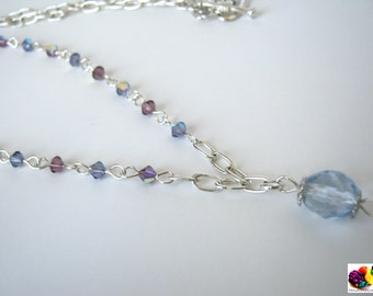 purple lilac glass beads silver plated necklace