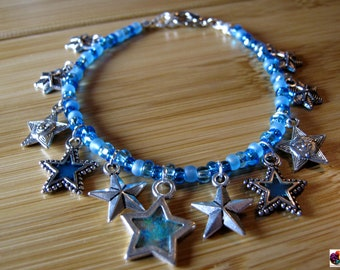 beaded blue beads with silver star charm bracelet