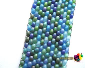 peyote beadweaved bracelet ocean blue green mix