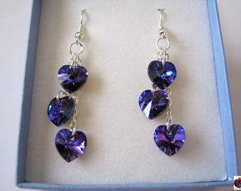 Crystal heart Swarovski in custom color personalized silver plated earring