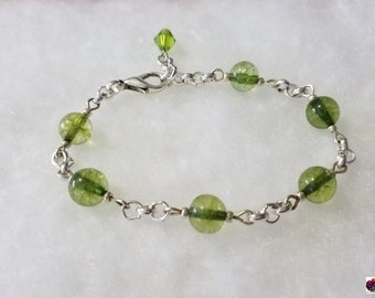 clear dyed jade beaded silver bracelet in 2 different color