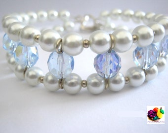 baby blue double strand bracelet with glass beads and pearl
