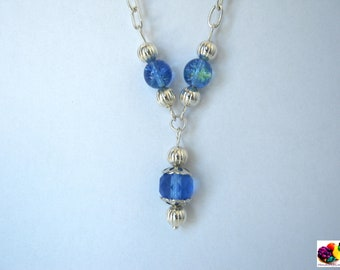blue crackle beads  silver plated necklace