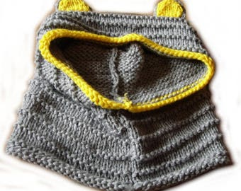 Hooded kids ears with gray and yellow 8/10 years