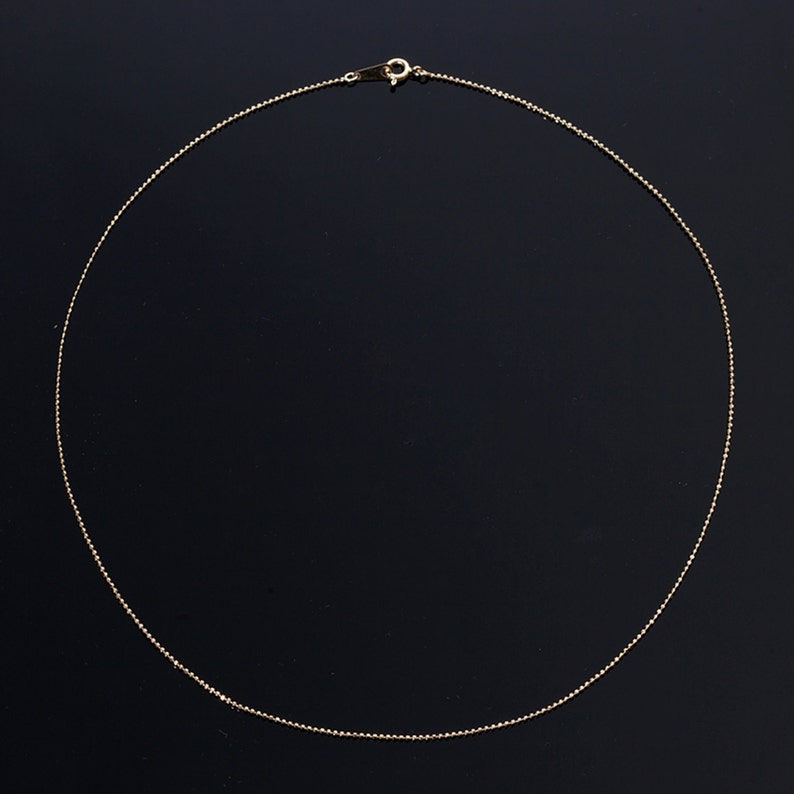 14K Solid Yellow Gold,585,16,18,20,22,24inches.1 mm Cut Ball Bead Chain Necklace Wholesale price