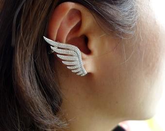 Wings,Ear Cuff,925 Sterling Silver,Ear clip,Ear Jacket.
