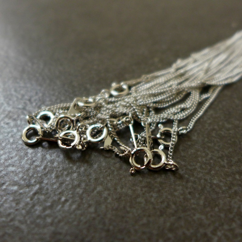 925 Sterling Silver 16,18 Wholesale price,Rhodium Plated 1.2mm Curb Chain Necklace 10PCS