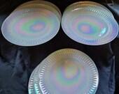 Rare Federal Glass 11 Dinner Plate Heat Proof Moonglow Opalescent Pearl Lustre White Milk Glass Iridescent Rainbow Platter Art Home Decor