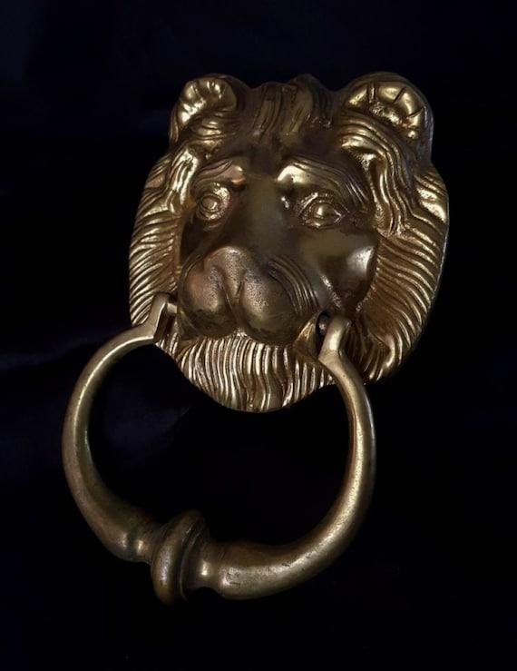 vintage brass lion head door knocker