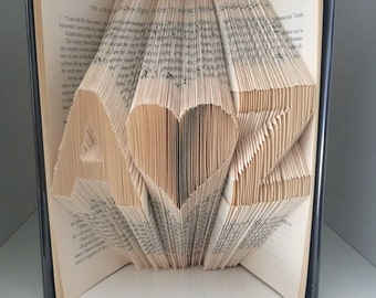 Folded Book Art - Custom Initials and Heart