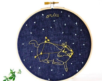 Aries (March 21 - April 19) zodiac embroidery