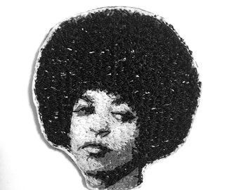 Angela Davis Embroidered Portrait Pin with Leather Backing