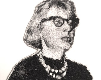 Jane Jacobs Embroidered Portrait Pin with Leather Backing