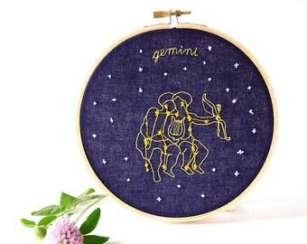 Gemini  (May 21 - June 20) zodiac embroidery