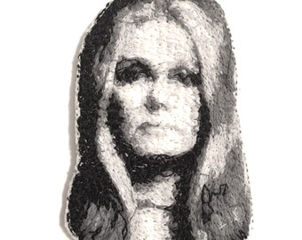 Gloria Steinem Embroidered Portrait Pin with Leather Backing