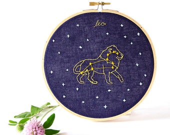 Leo (July 23 - August 22) zodiac embroidery