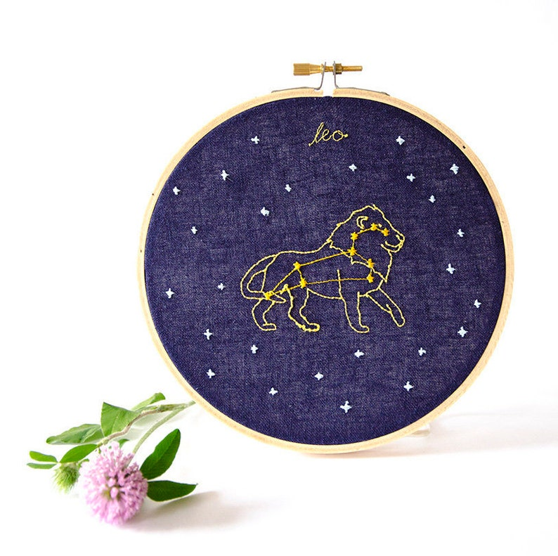 Leo July 23  August 22 zodiac embroidery image 0