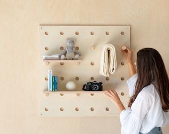 Wooden Pegboard Shelf – Peg Board– Wooden shelves – Store Shelving Unit – Shop Wall Display – Organizer – Retail Display - Plywood