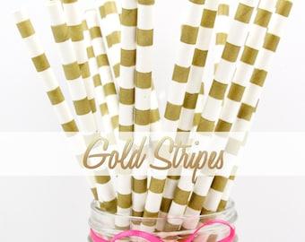 GOLD STRIPES - Gold Horizontal Stripes Paper Straws - Party Paper Straws - Wedding - Birthday Decorations
