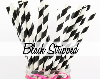BLACK STRIPED - Black Striped Paper Straws - Party Paper Straws - Wedding - Birthday Decorations