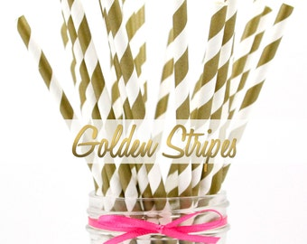 GOLD STRIPED Paper Straws - Party Paper Straws - Wedding - Birthday Decorations
