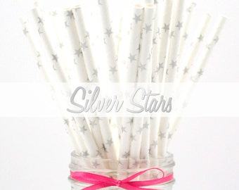 SILVER STARS Paper Straws - Party Paper Straws - Wedding - Birthday Decorations