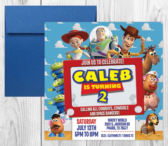 Digital With or Without Photo you print Toy Story Birthday Invitation
