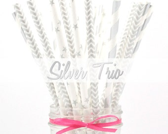 SILVER - Stripes, Stars and Chevron Paper Straws - Party Paper Straws - Wedding - Birthday Decorations