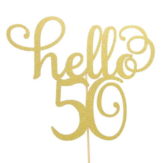 gold glitter hello 21//30//40//50//60 birthday cake topper party decor supplies EVEV