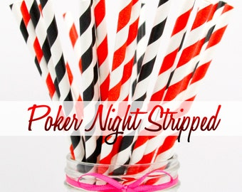 BLACK & RED - Black and Red Striped Combination Paper Straws - Party Paper Straws - Wedding - Birthday Decorations