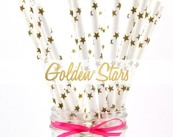 GOLD STARS Paper Straws - Party Paper Straws - Wedding - Birthday Decorations