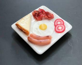 35 MM MINIATURE STEAK FRIED EGG BREAD SAUSAGE BREAKFAST DINNER FOOD SUPPLY DECO