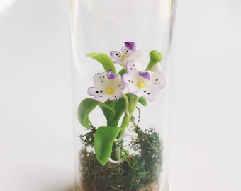 Miniature Flower,Miniature Flower in Glass Bottle,Miniature Orchid,Dollhouse Flower,Miniature Garden,Dollhouse Orchid,Orchid Flower