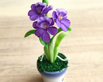 Miniature Flower,Miniature Flower Pot,Miniature Orchid,Dollhouse Flower,Miniature Garden,Dollhouse Orchid,Clay Flower