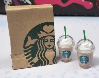 Miniature Starbucks Paper Bag and 2 pcs Ice Starbucks Coffee Latte,Miniature coffee cup Starbucks,Miniature Ice Green tea,Dollhouse Starbuck