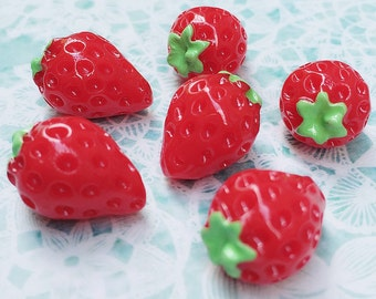 3 pcs.12x17mm.Miniature Cabochon Strawberry,Miniature Strawberry,Cabochon,Resin,Miniature Fruit,Mobile Accessories,Cabochon Fruit,Miniature