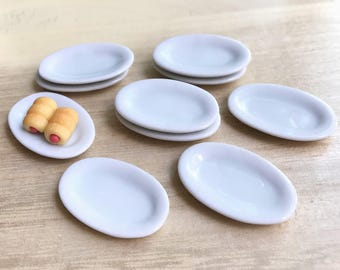 5 Miniature Plate,Ceramic Plate Miniature,Miniature food Plate,Dollhouse Plate,Small Plate,Dollhouse tray,Miniature tray,DIY