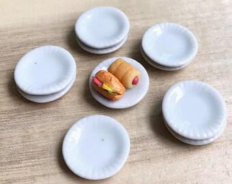 5 Miniatue plate,mini ceramic plate,miniature food plate,cake plate,small plate,dollhouse plate,dollhouse miniature plate