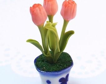 Miniature Flower,Miniature Flower Pot,Miniature Vase,Dollhouse Flower,Miniature Garden,Dollhouse Flower Pot,Miniature Tulip Flower