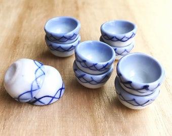 5 Miniature Bowl,Mini Ceramic  Bowl,Miniature food Bowl,Miniature Plate, Dollhouse Bowl,Dollhouse Accessories,Dollhouse Plate