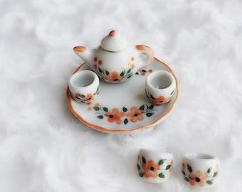 Miniature Tea Set,Miniature Chinese Tea Set,Miniature Drink,Dolls House Tea set, Miniature Tea Pot with 4 cup Set,Miniature Coffee