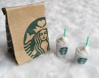 Miniature Starbuck Paper Bag and 2 pcs Ice Starbuck Coffee,Miniature coffee cup Starbucks,Miniature Coffee,Dollhouse Starbucks,Coffee
