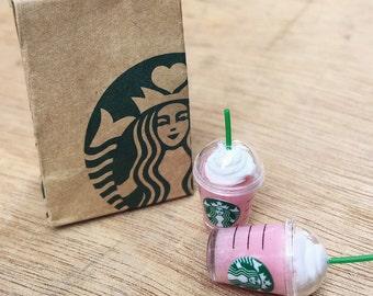 Miniature Starbucks Paper Bag and 2 pcs Ice Stawberry Milkshake Starbucks,Miniature coffee cup Starbucks