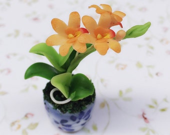 Miniature Flower,Miniature Flower Pot,Miniature Orchid,Dollhouse Flower,Miniature Garden,Dollhouse Orchid,Miniature Violacea Orchid