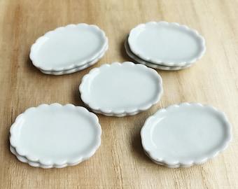 5Miniature Ceramic Plate,Miniature Food Plate,Dollhouse Plate,Miniature tray,Ceramic Plate,Miniature food accessories,Miniature DIY